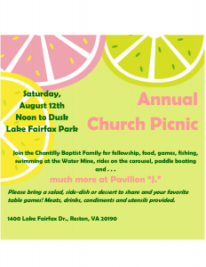 Annual Church Picnic 2017